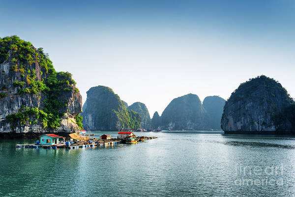 Scenic View Of Floating Fishing Village Art Print