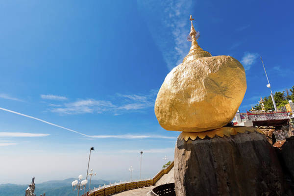 Pagoda Photograph - Scenic View Of Golden Rock Kyaiktiyo by Fototrav