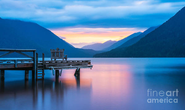 Beautiful Sunrise Photograph - Scenic View Of Pier In Lake Crescent by Checubus