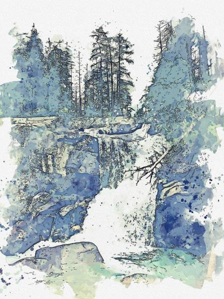 Wall Art - Painting - Scenic View Of Waterfall In Forest Against Sky Watercolor By Ahmet Asar by Ahmet Asar