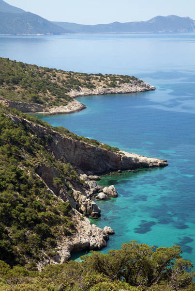 Dodecanese Photograph - Scenic View Towards Deserted Beach And by Christer Fredriksson