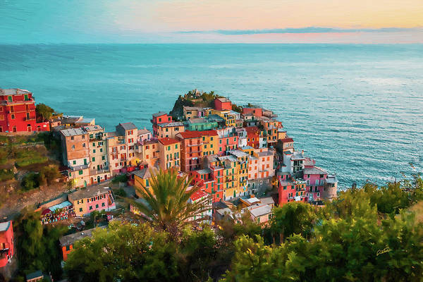Painting - Scenic Village Of Manarola Cinque Terre Italy - Dwp1721006 by Dean Wittle