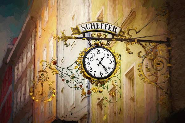 Austrian Wall Art - Photograph - Scheffer Clock And Store Sign Salzburg Austria  by Carol Japp
