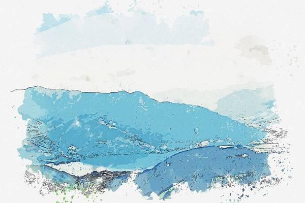 Wall Art - Painting - Schmittenhohebahn Top Station 2000m, Schmitten, Austria 3 Watercolor By Ahmet Asar by Ahmet Asar