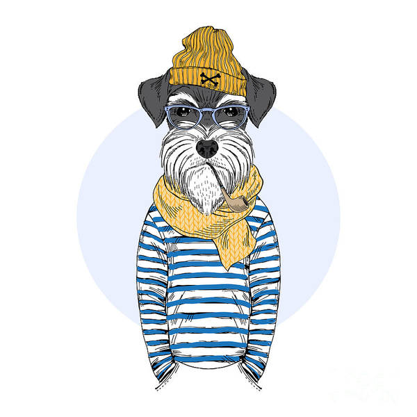 Wall Art - Digital Art - Schnauzer Dog Sailor, Nautical Poster by Olga angelloz