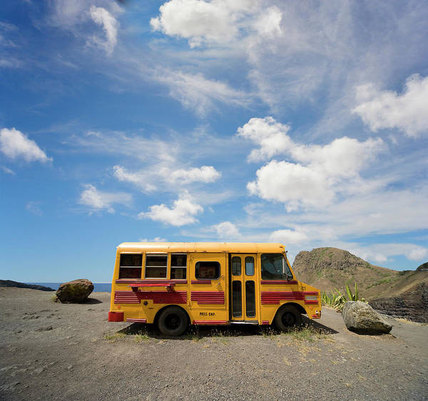 Photograph - School Bus On Beach by Ed Freeman