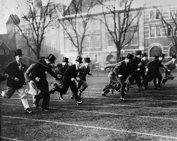 Top Hat Photograph - School Race by Evans