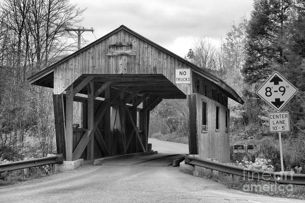 Photograph - School Street Covered Bridge Black And White by Adam Jewell