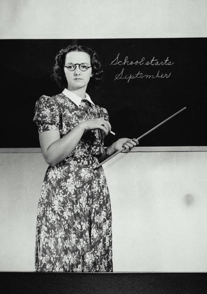 Teaching Photograph - School Teacher Standing In Front Of by Archive Holdings Inc.