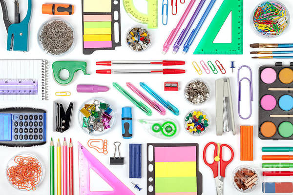 Object Wall Art - Photograph - School Tools On White Background Top by 123object