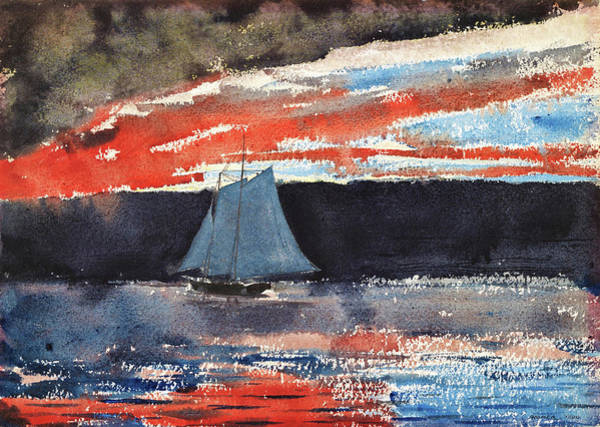 Wall Art - Painting - Schooner At Sunset - Digital Remastered Edition by Winslow Homer