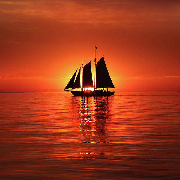 Photograph - Schooner Eclipses The Sun Square by David T Wilkinson