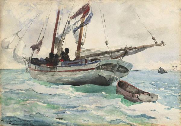 Wall Art - Drawing - Schooner - Nassau by Winslow Homer
