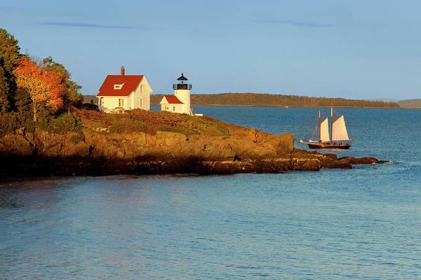 Camden Photograph - Schooner Sails Past Curtis Island by Danita Delimont