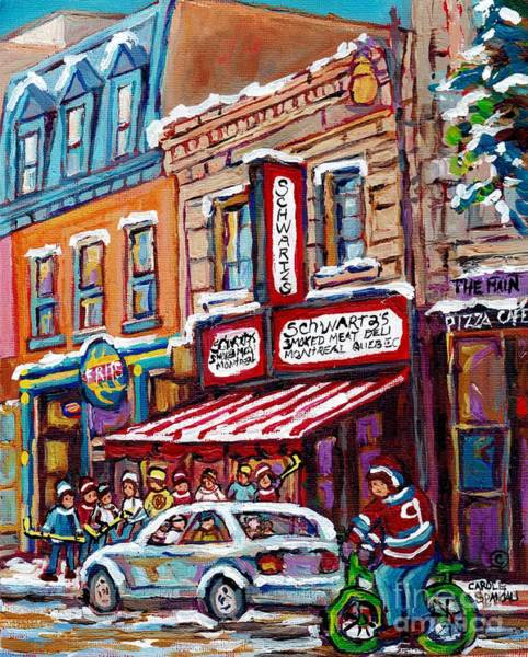 Painting - Schwartz Smoked Meat Sandwich Winter Scene Deli Arts Hungry Hockey Kids Biking Along Main Street  by Carole Spandau