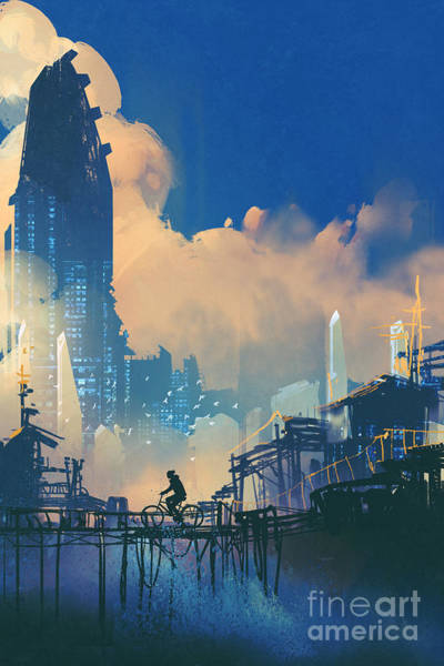 Wall Art - Digital Art - Sci-fi Cityscape With Slum And by Tithi Luadthong