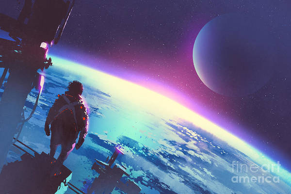 Atmosphere Wall Art - Digital Art - Sci-fi Concept Of The Man Looking At A by Tithi Luadthong