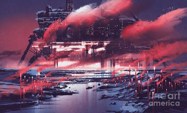 Color Field Wall Art - Digital Art - Sci-fi Scene Of Industrial by Tithi Luadthong