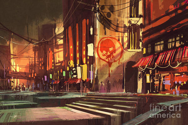 Wall Art - Digital Art - Sci-fi Scene Of Shopping by Tithi Luadthong