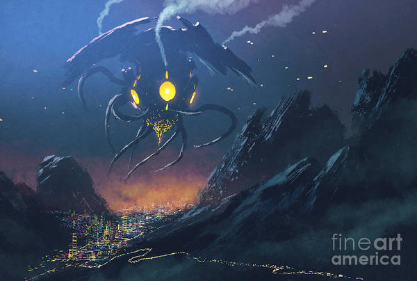 Wall Art - Digital Art - Sci-fi Scene Of The Alien Ship Invading by Tithi Luadthong