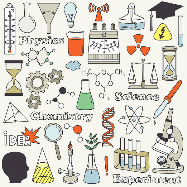 Experiment Wall Art - Digital Art - Science Icon Set Hand Drawn. Doodle by Talirina