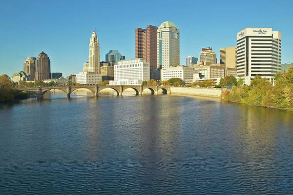 Ohio Photograph - Scioto River And Columbus Ohio Skyline by Visionsofamerica/joe Sohm