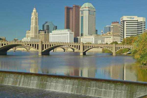 Scioto Photograph - Scioto River With Waterfall And by Visionsofamerica/joe Sohm