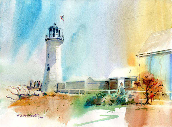 Wall Art - Painting - Scituate Light 2 by P Anthony Visco