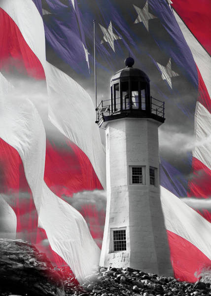 Photograph - Scituate Lighthouse Against The American Flag by Jeff Folger