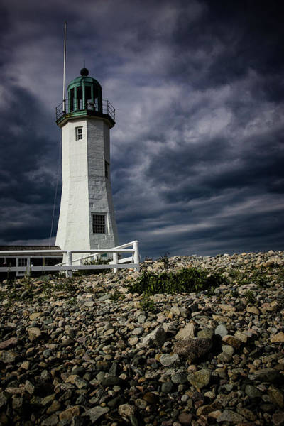 Photograph - Scituate Lighthouse Against The Stormy Sky by Jeff Folger