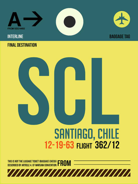 Wall Art - Digital Art - Scl Santiago Luggage Tag II by Naxart Studio