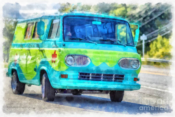 Wall Art - Digital Art - Scooby Doo Mystery Machine Van by Edward Fielding