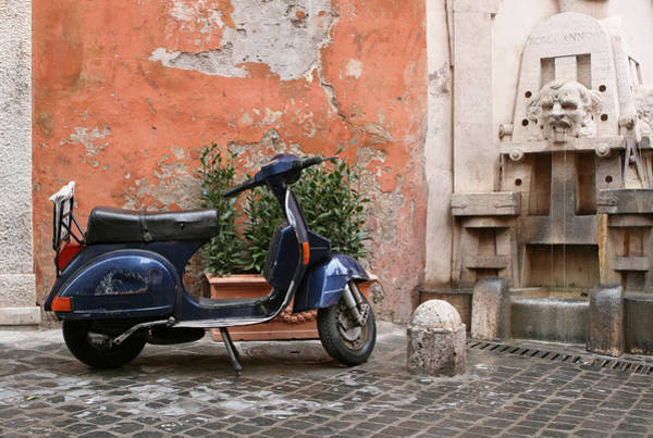 Old Photograph - Scooter And Fountain In The Rain, Rome by Romaoslo