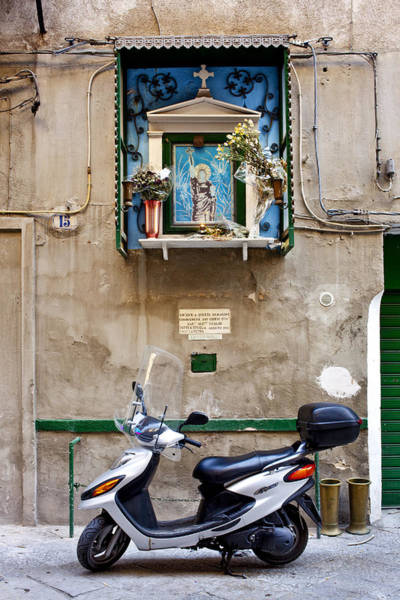 Sicily Photograph - Scooter And The Saint Image, Palermo by Sabine Lubenow / Look-foto