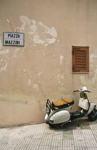 Sicily Photograph - Scooter Parked On Piazza Mazzini by Andrew Bain