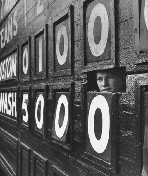 Child Photograph - Scoreboard Peep by Hank Walker
