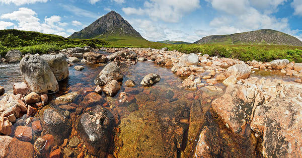 Moor Photograph - Scotland Clear Mountain Stream Panorama by Fotovoyager