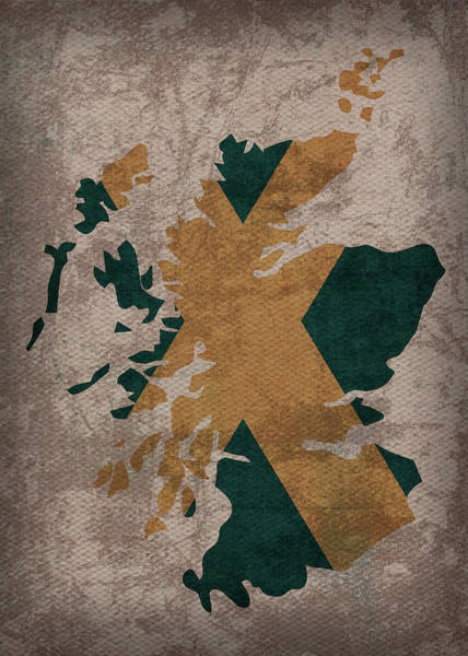 Wall Art - Mixed Media - Scotland Country Flag Map by Design Turnpike