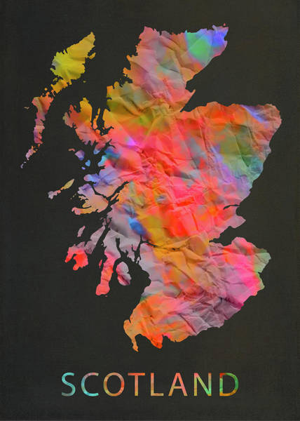 Wall Art - Mixed Media - Scotland Tie Dye Country Map by Design Turnpike