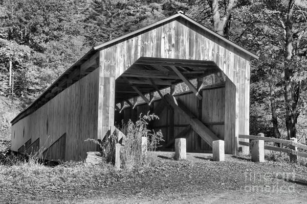 Photograph - Scott Covered Bridge Black And White by Adam Jewell