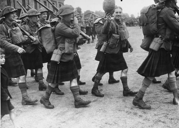 Marching Photograph - Scottish Regiment by Fox Photos