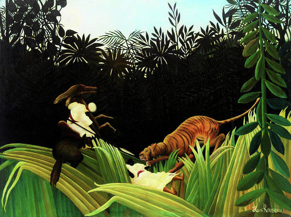 Attack Painting - Scouts Attacked By A Tiger - Digital Remastered Edition by Henri Rousseau