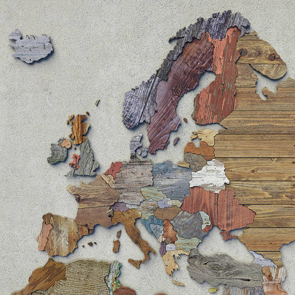 Photograph - Scrapwood Map Of Europe by Frans Blok