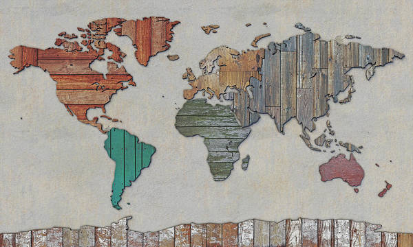 Digital Art - Scrapwood Map Of The World by Frans Blok