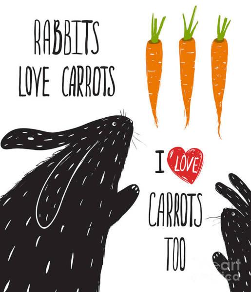 Wall Art - Digital Art - Scratchy Rabbits Love Carrots by Popmarleo