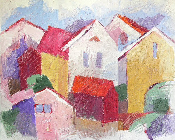 Wall Art - Painting - Scratchy Village by Lutz Baar