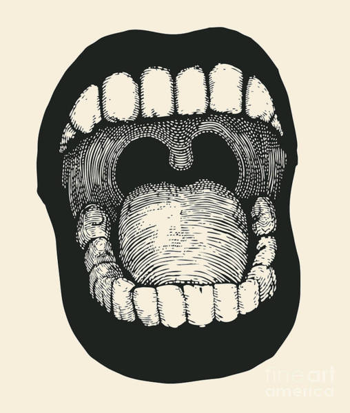 Wall Art - Digital Art - Screaming Mouth. Drawing Style. Vector by Jumpingsack