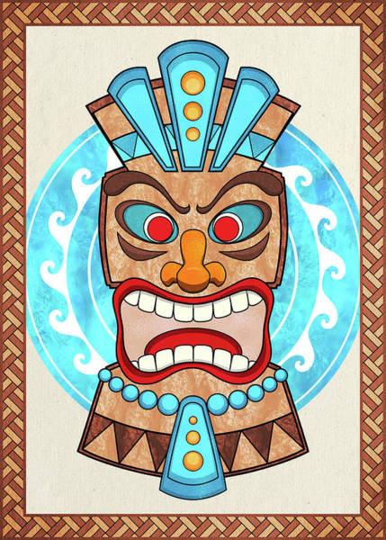 Digital Art - Screaming Tiki Head by Debi Dalio