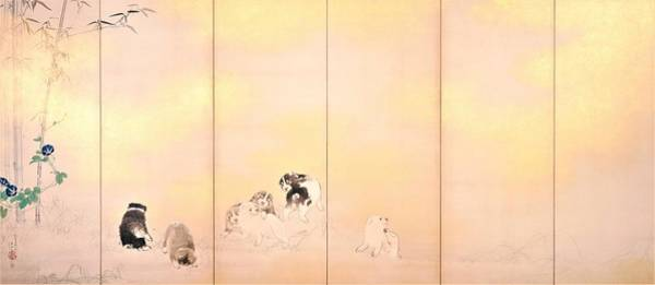 Wall Art - Painting - Screen Of Wisteria And Morning Glory With Dogs - Digital Remastered Edition by Takeuchi Seiho