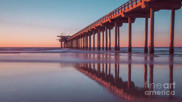 Photograph - Scripps Pier Sunset San Diego 16x9 Wide by Edward Fielding